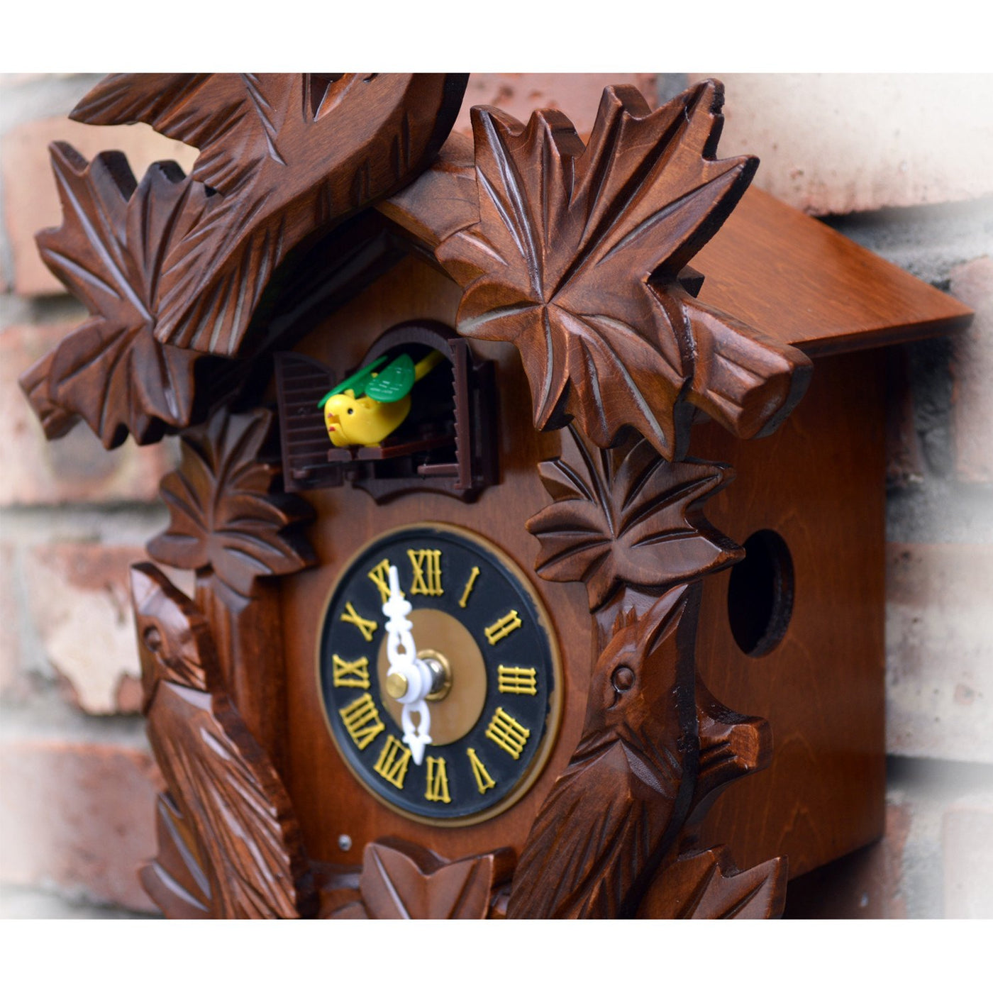 Cuckoo Clock With Wood Carving Birds Chirping On Hour 17