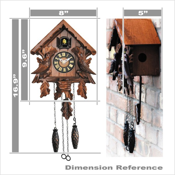 Cuckoo Clocks - Traditional Wooden Clock With Quartz Movement And Cuckoo Chirping
