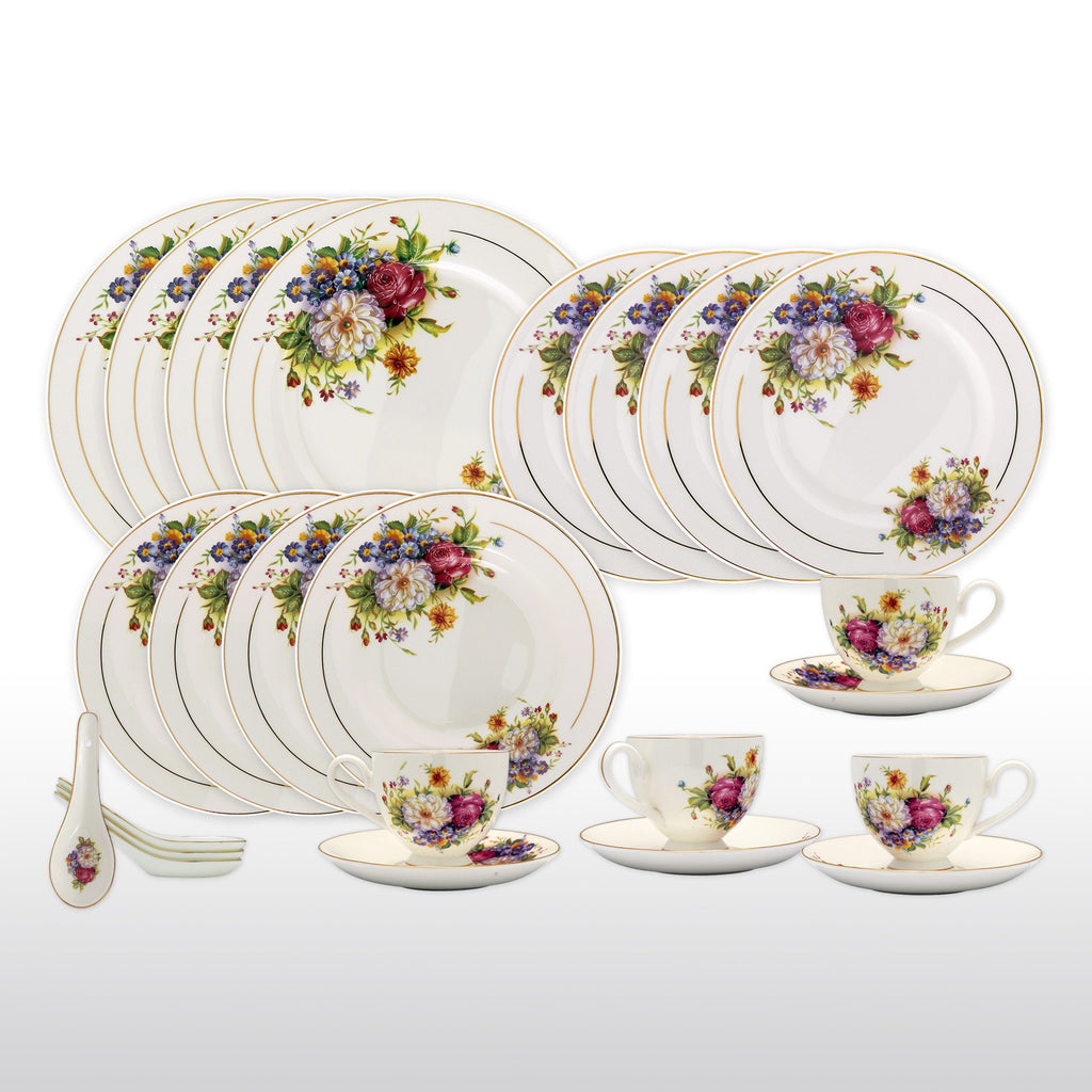Dinnerwares - Bone China 24 Piece Dinnerware Set Colorful Blossom And Gold Rims, Service For 4