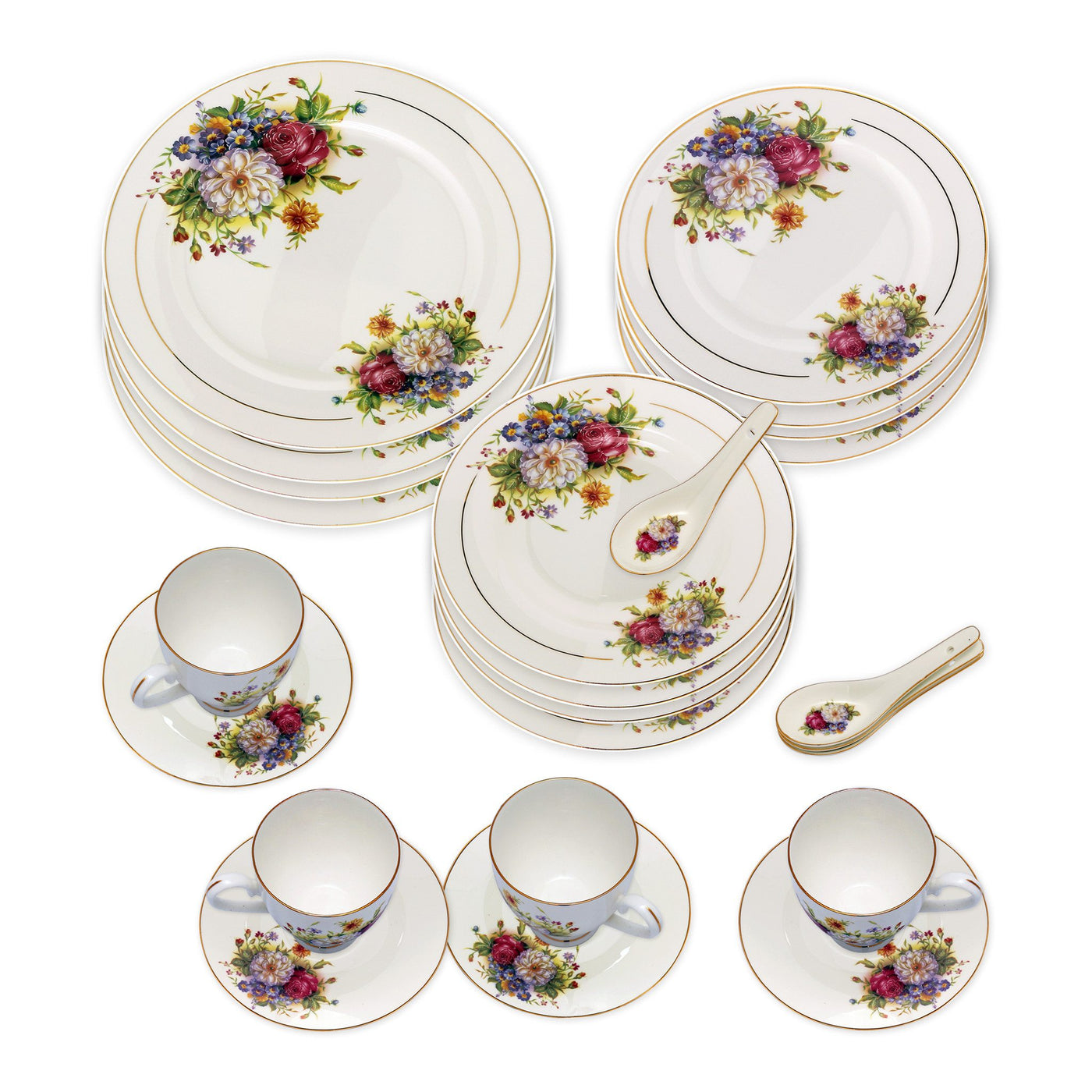 ... Dinnerwares - Bone China 24 Piece Dinnerware Set Colorful Blossom And Gold Rims Service For ...  sc 1 st  Homenique.net & Fine Bone China Dinnerware Sets - 24 Piece Service for 4 in Floral ...