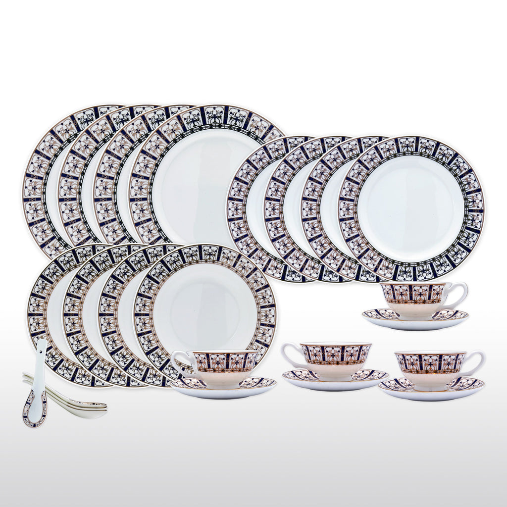 Dinnerwares - Bone China 24 Piece Dinnerware Set Decorative Patterns In Blue And Gold Service  sc 1 st  Homenique.net & Fine Bone China Dinnerware Set - 24 Piece Service for 4 - Blue ...