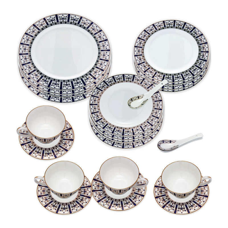 Dinnerwares - Bone China 24 Piece Dinnerware Set Decorative Patterns In Blue And Gold, Service For 4