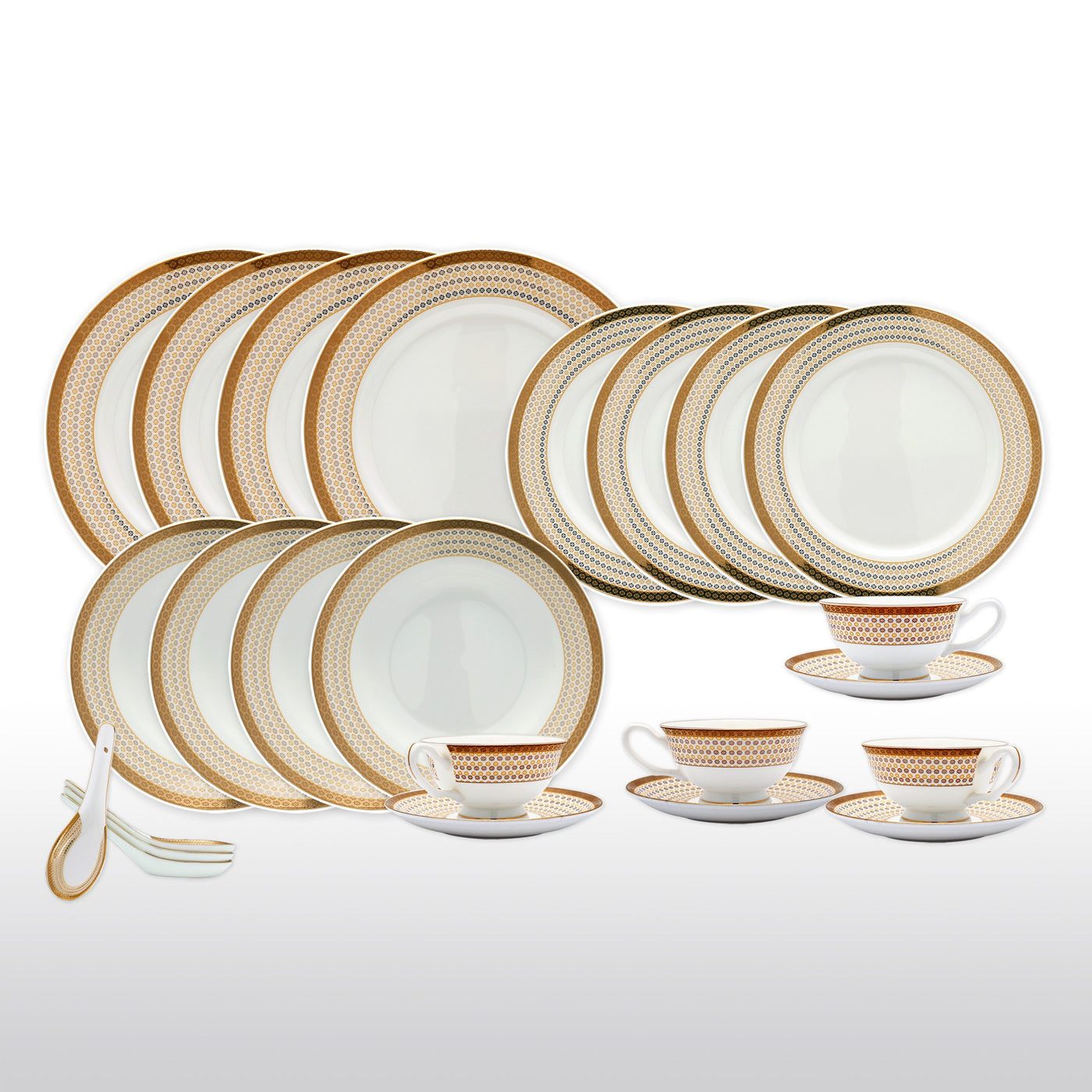 Dinnerwares - Bone China 24 Piece Dinnerware Set Diamonds And Gold Border Service For 4 ...  sc 1 st  Homenique.net & Fine Bone China Dinnerware Set - 24 Piece Service for 4 - Dotted - with Dinner Plates Salad Plates Soup Bowls Cups Saucers u0026 Spoons
