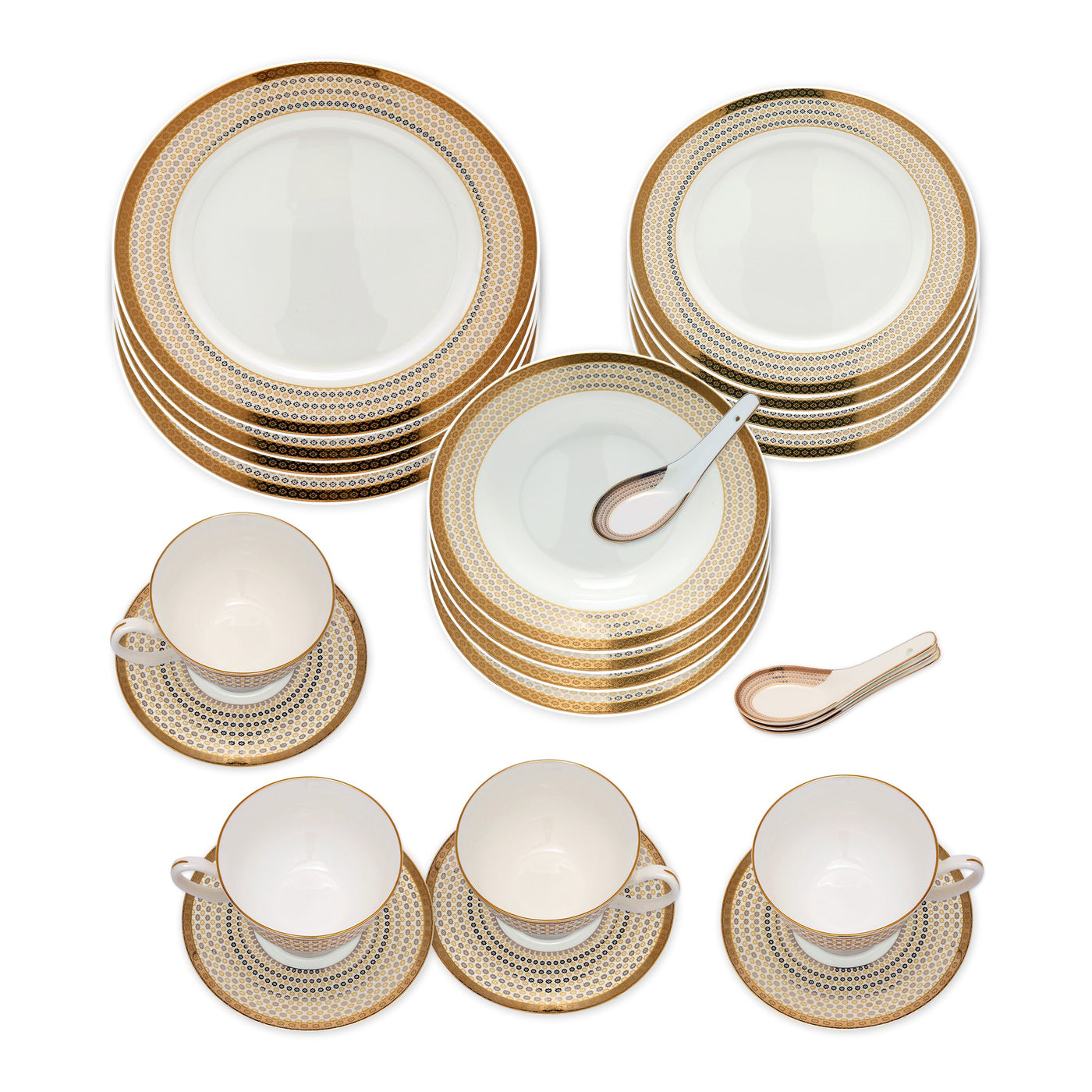 ... Dinnerwares - Bone China 24 Piece Dinnerware Set Diamonds And Gold Border Service For 4 ...  sc 1 st  Homenique.net & Fine Bone China Dinnerware Set - 24 Piece Service for 4 - Dotted ...