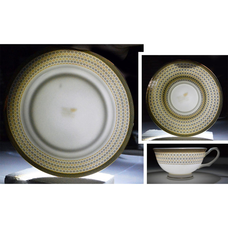 Dinnerwares - Bone China 24 Piece Dinnerware Set Diamonds And Gold Border, Service For 4