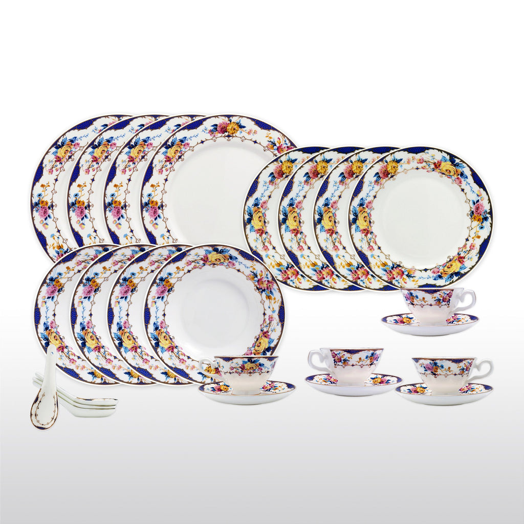 Dinnerwares - Bone China 24 Piece Dinnerware Set Floral Design And Blue Border Service For  sc 1 st  Homenique.net & Fine Bone China Dinnerware Set - 24 Piece Service for 4 - English ...