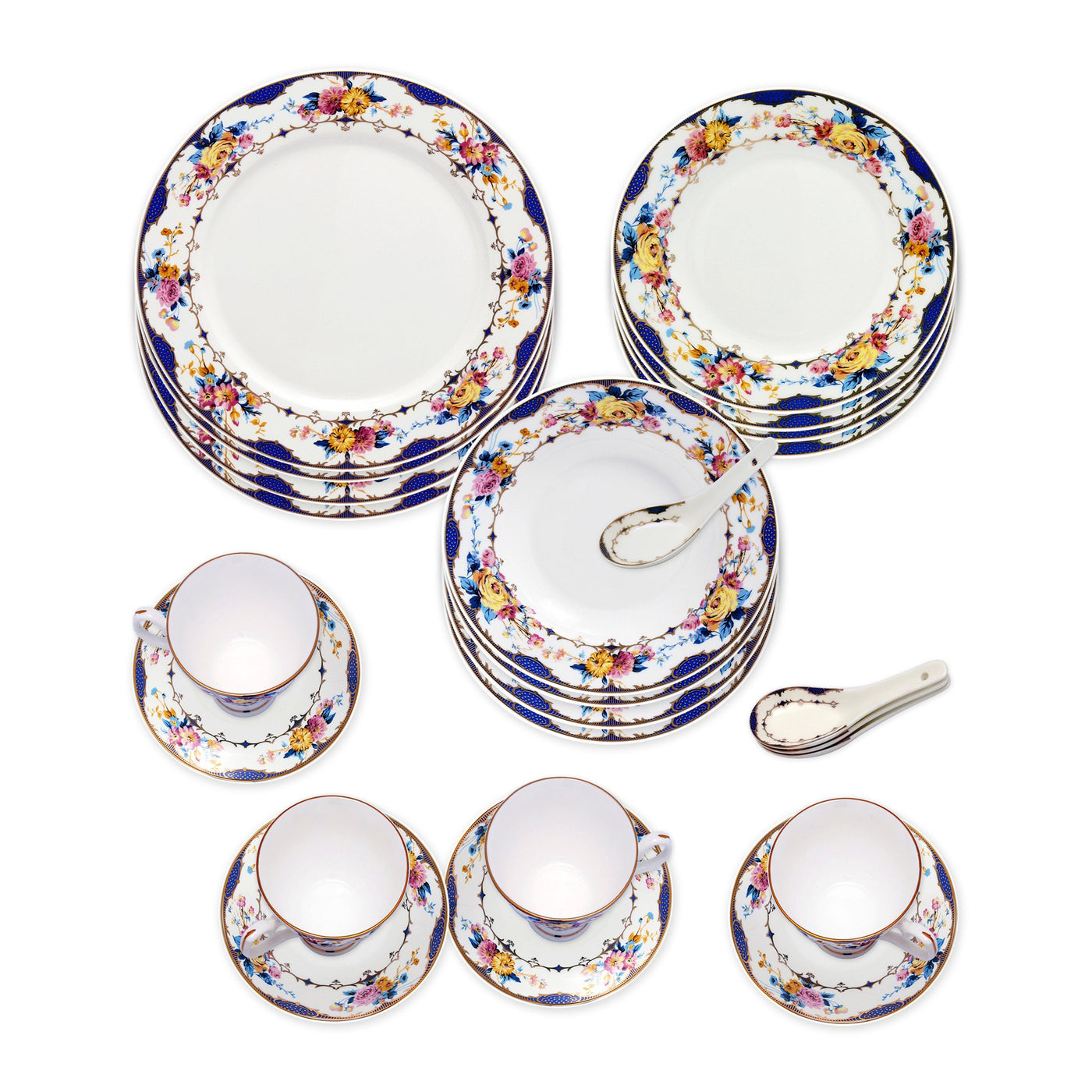 ... Dinnerwares - Bone China 24 Piece Dinnerware Set Floral Design And Blue Border Service For ...  sc 1 st  Homenique.net & Fine Bone China Dinnerware Set - 24 Piece Service for 4 - Vivid ...