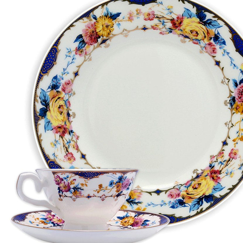 Dinnerwares - Bone China 24 Piece Dinnerware Set Floral Design And Blue Border, Service For 4