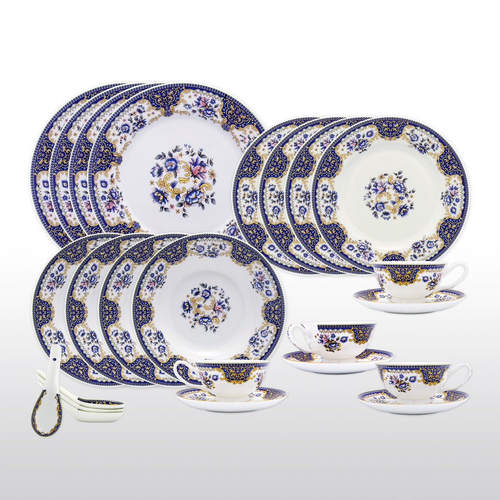 Fine Bone China Dinnerware Set - 24 Piece Service for 4 - Blue Floral - with Dinner Plates Salad Plates Soup Bowls Cups Saucers u0026 Spoons  sc 1 st  Homenique.net & Fine Bone China Dinnerware Sets - 24 Piece Service for 4 in Floral ...