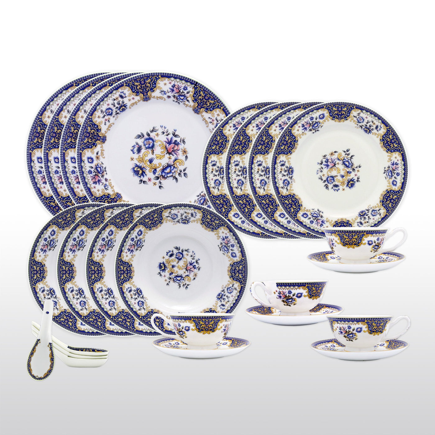 Dinnerwares - Bone China 24 Piece Dinnerware Set Floral Motif And Blue Patterns Service For ...  sc 1 st  Homenique.net & Fine Bone China Dinnerware Set - 24 Piece Service for 4 - Blue ...
