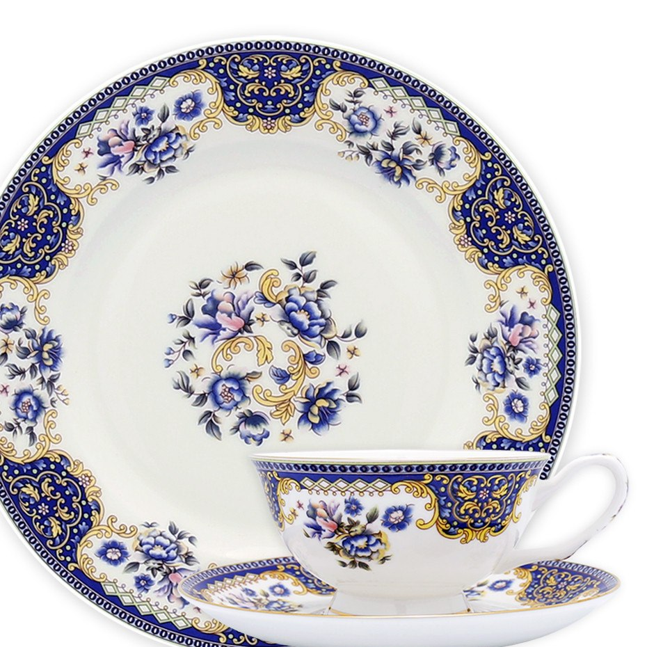 ... Dinnerwares - Bone China 24 Piece Dinnerware Set Floral Motif And Blue Patterns Service For ...  sc 1 st  Homenique.net & Fine Bone China Dinnerware Set - 24 Piece Service for 4 - Blue ...