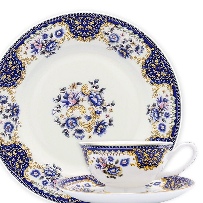 Dinnerwares - Bone China 24 Piece Dinnerware Set Floral Motif And Blue Patterns, Service For 4