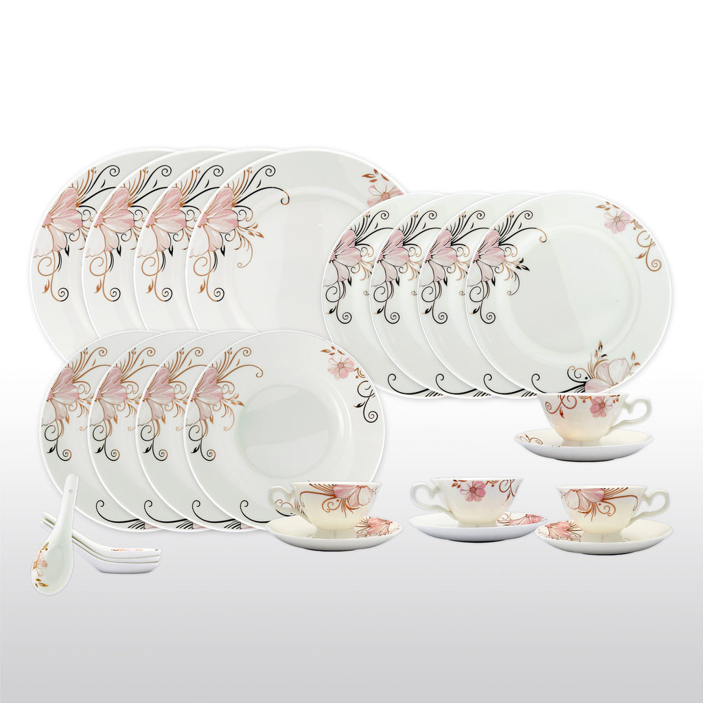 Fine Bone China Dinnerware Set - 24 Piece Service for 4 - Pink Floral - with Dinner Plates Salad Plates Soup Bowls Cups Saucers u0026 Spoons  sc 1 st  Homenique.net & Fine Bone China Dinnerware Sets - 24 Piece Service for 4 in Floral ...