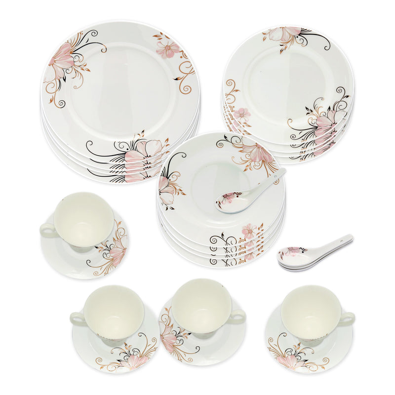 Dinnerwares - Bone China 24 Piece Dinnerware Set Pink Blossom And Gold Patterns, Service For 4