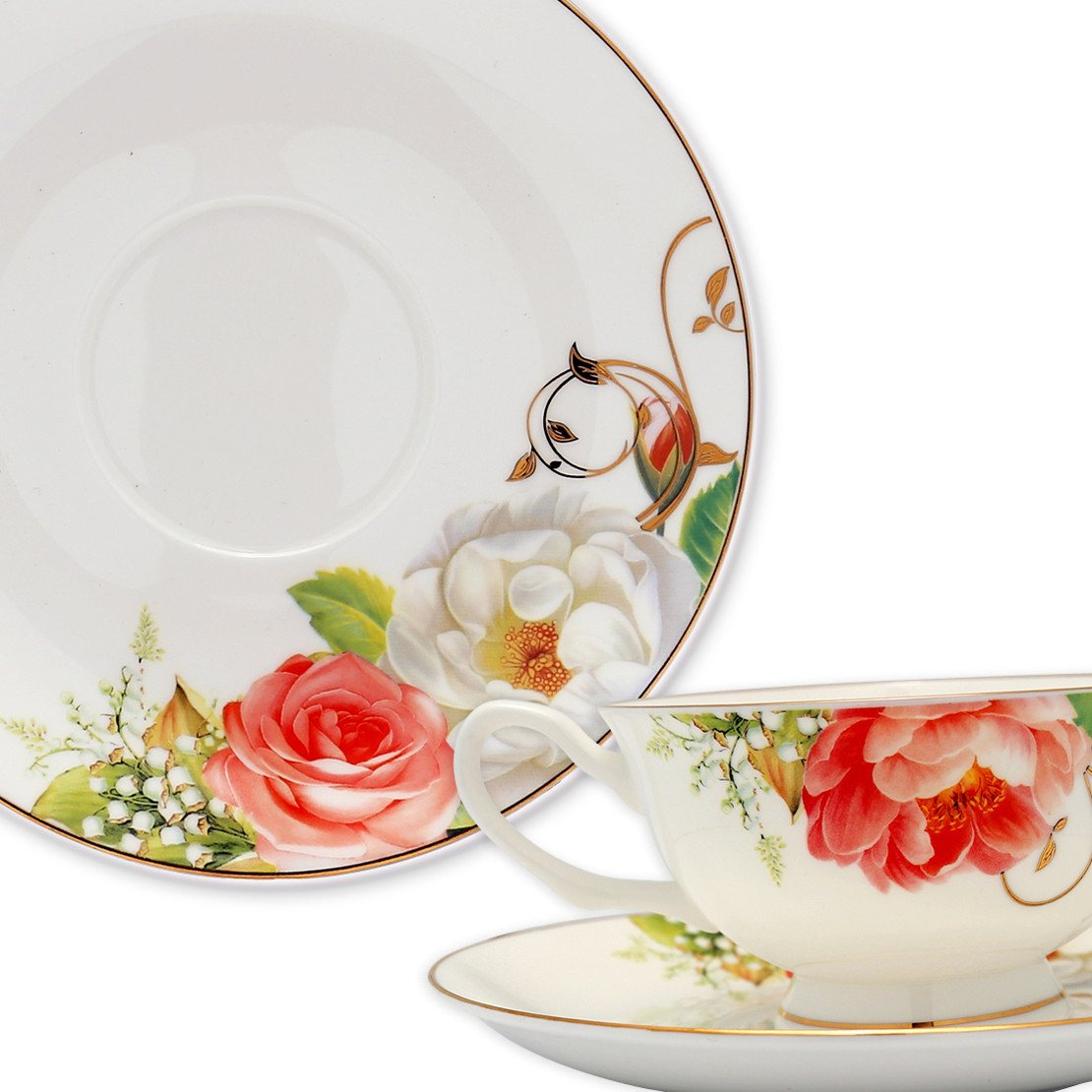 ... Dinnerwares - Bone China 24 Piece Dinnerware Set Rose Blossom And Gold Twigs Service For ...  sc 1 st  Homenique.net & Fine Bone China Dinnerware Set - 24 Piece Service for 4 - Rose Motif ...