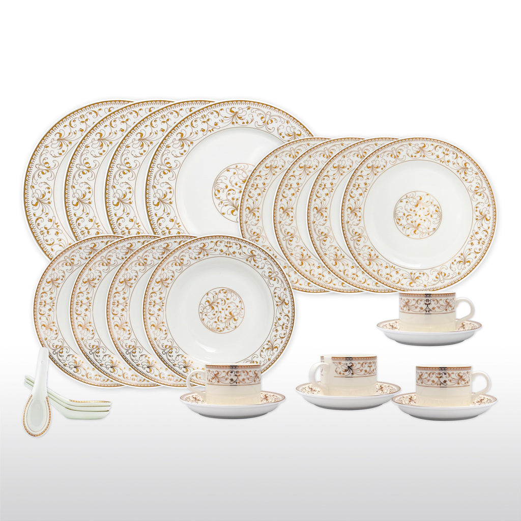 Dinnerwares - Bone China 24 Piece Dinnerware Set Yellow Leaves And Gold Twigs, Service For 4