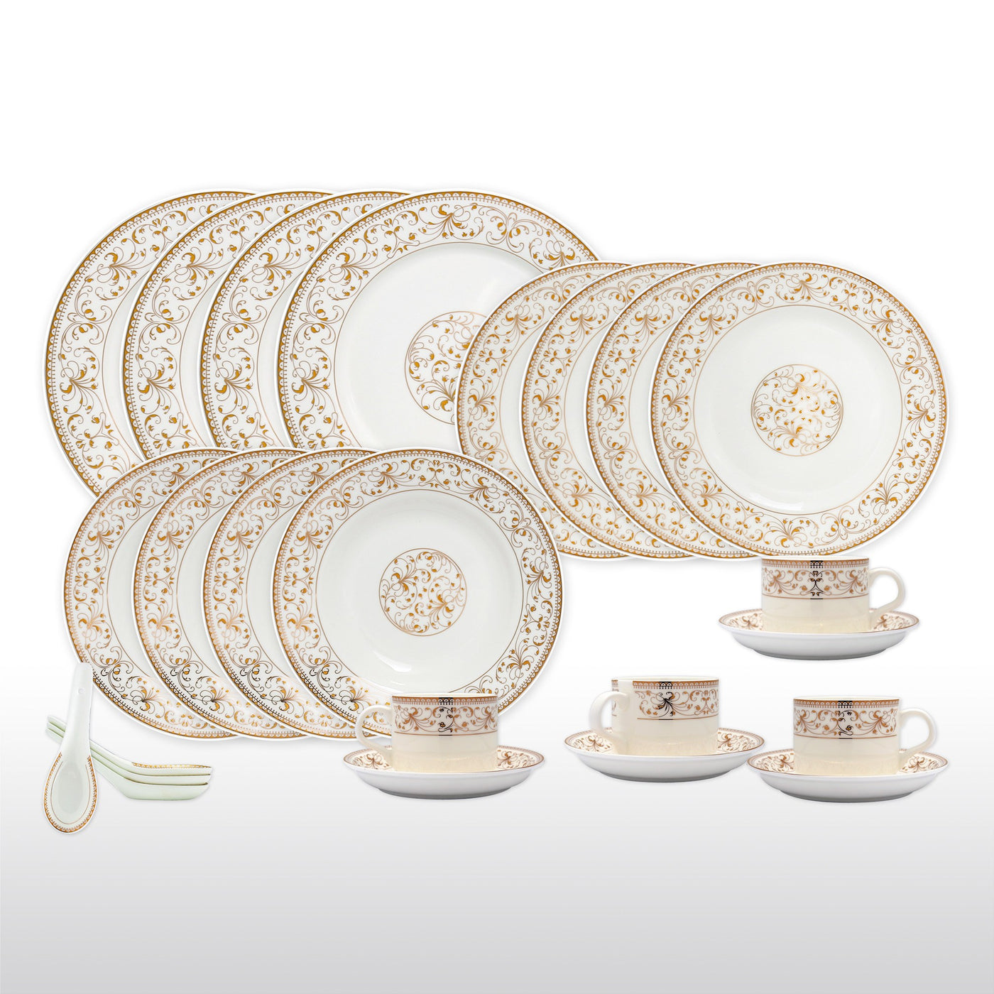 Dinnerwares - Bone China 24 Piece Dinnerware Set Yellow Leaves And Gold Twigs Service For ...  sc 1 st  Homenique.net & Fine Bone China Dinnerware Set - 24 Piece Service for 4 - Gold Leaf ...