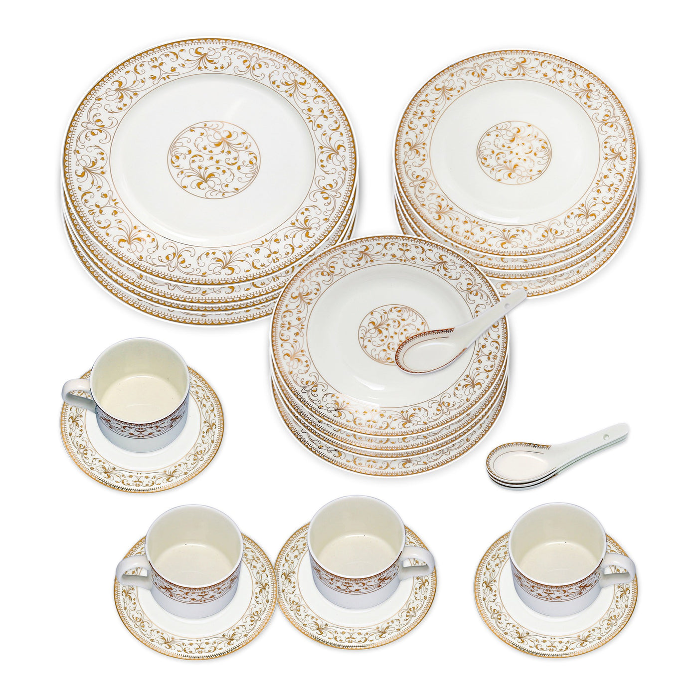 ... Dinnerwares - Bone China 24 Piece Dinnerware Set Yellow Leaves And Gold Twigs Service For ...  sc 1 st  Homenique.net & Fine Bone China Dinnerware Set - 24 Piece Service for 4 - Gold Leaf ...