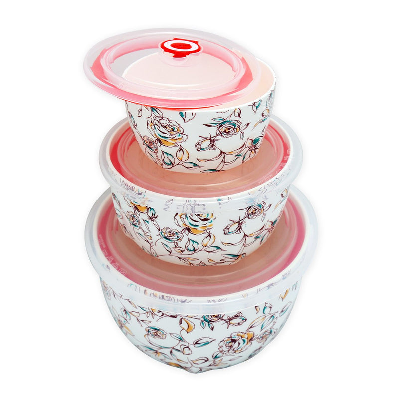 Fine Bone China Large Microwave Bowls With Silicone Lid