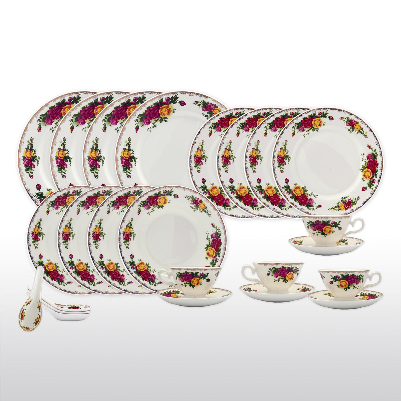 Dinnerwares Featured Products - Bone China 24 Piece Dinnerware Set English Rose Designs Service ...  sc 1 st  Homenique.net & Fine Bone China Dinnerware Set - 24 Piece Service for 4 - English ...