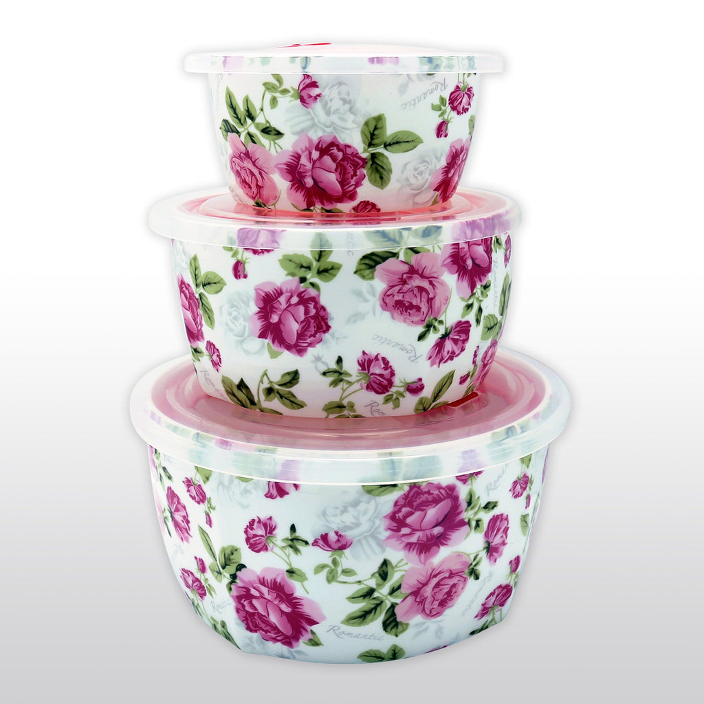 Dinnerwares, Featured Products - Bone China Large Microwave Bowls With Silicone Lid Pink Rose Motif Set Of 3