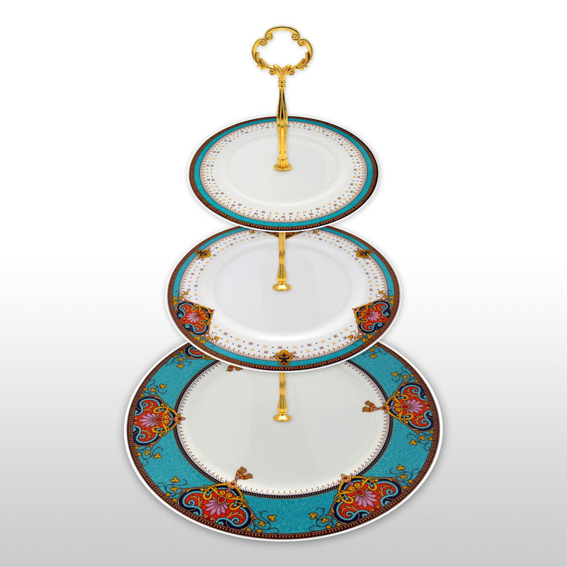 Dinnerwares, Featured Products - Fine Bone China 3 Tier Cake Stand In Vibrant Blue Red And Brown