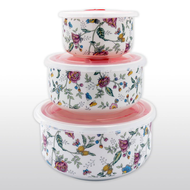 Dinnerwares. Featured Products   Fine Bone China Microwave Bowls With  Silicone Lid Rose Patterns Set