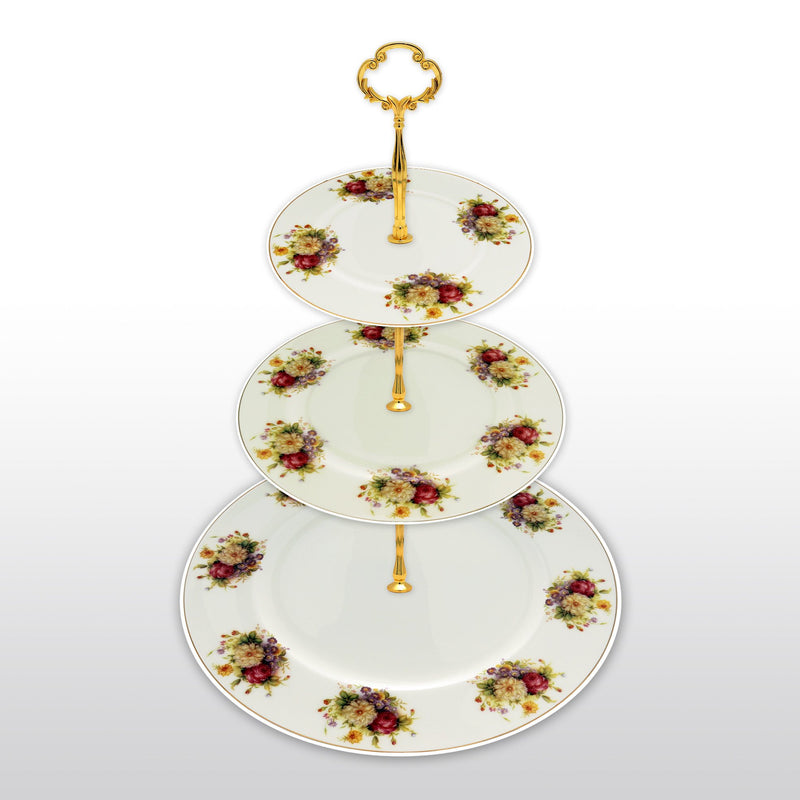 Dinnerwares - Fine Bone China 3 Tier Cake Stand Colorful Blossom And Gold Rim