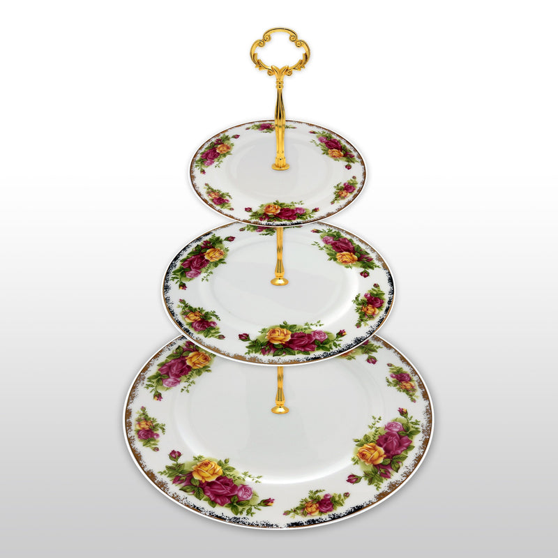 Dinnerwares - Fine Bone China 3 Tier Cake Stand English Rose Designs