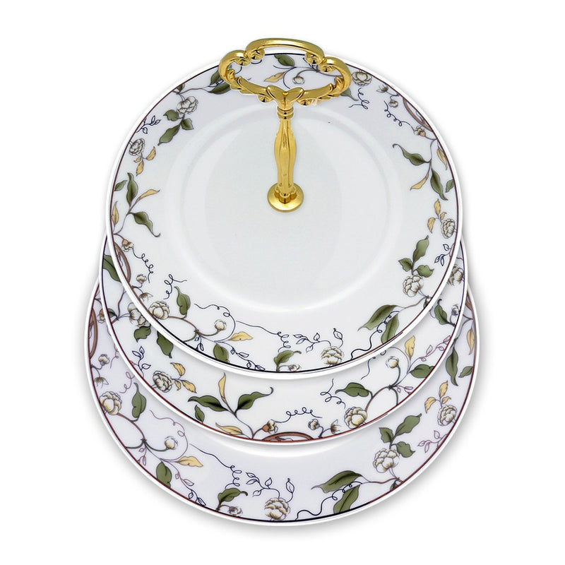 Dinnerwares - Fine Bone China 3 Tier Cake Stand Floral And Leaf Motif Elegant Design