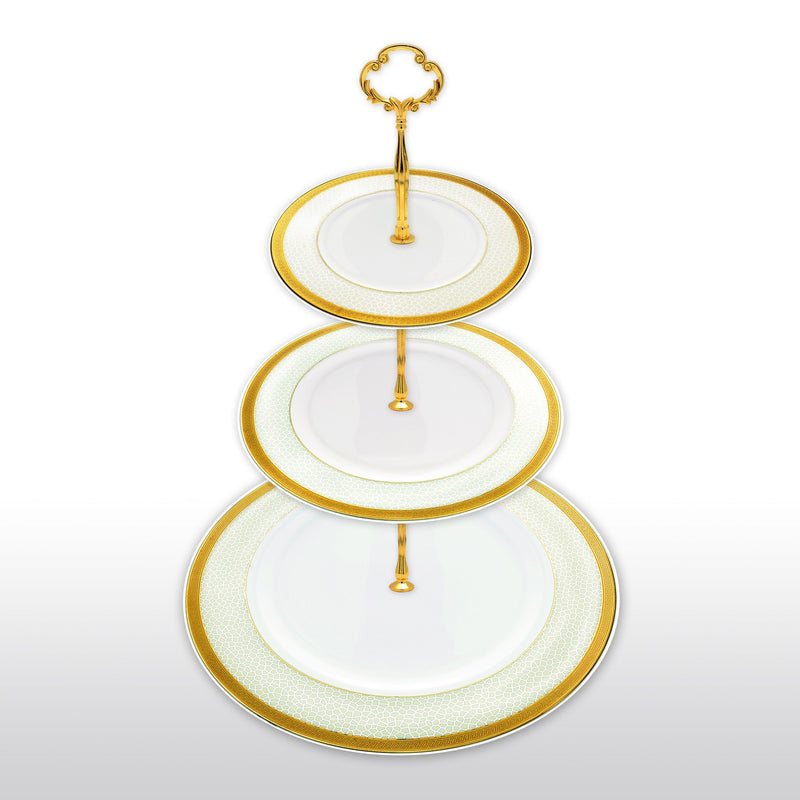 Dinnerwares - Fine Bone China 3 Tier Cake Stand Gold Rim And Ice Crack