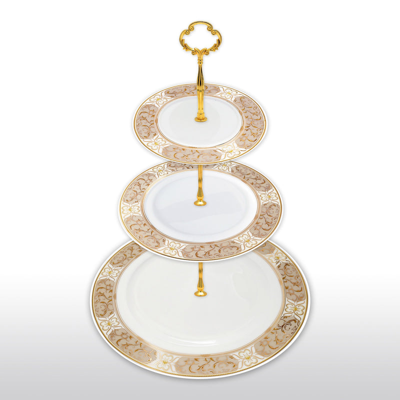 Dinnerwares - Fine Bone China 3 Tier Cake Stand Gold Rimmed Patterns Neutral Tones
