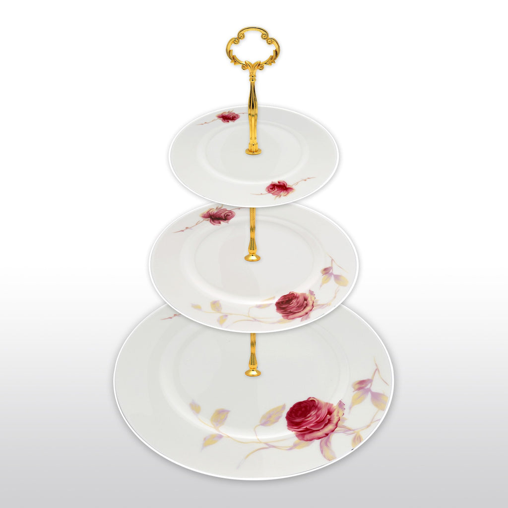 Dinnerwares - Fine Bone China 3 Tier Cake Stand Pink Blossom And Leaf In Gradient Colors