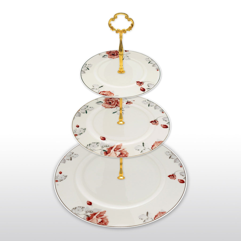 Dinnerwares - Fine Bone China 3 Tier Cake Stand Rose Motif Agate Red And Gray