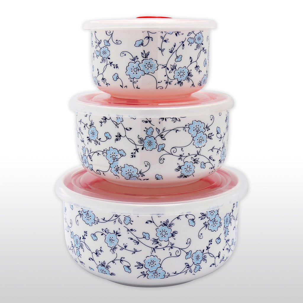 Dinnerwares - Fine Bone China Microwave Bowls With Silicone Lid Elegant Blue Flowers Set Of 3