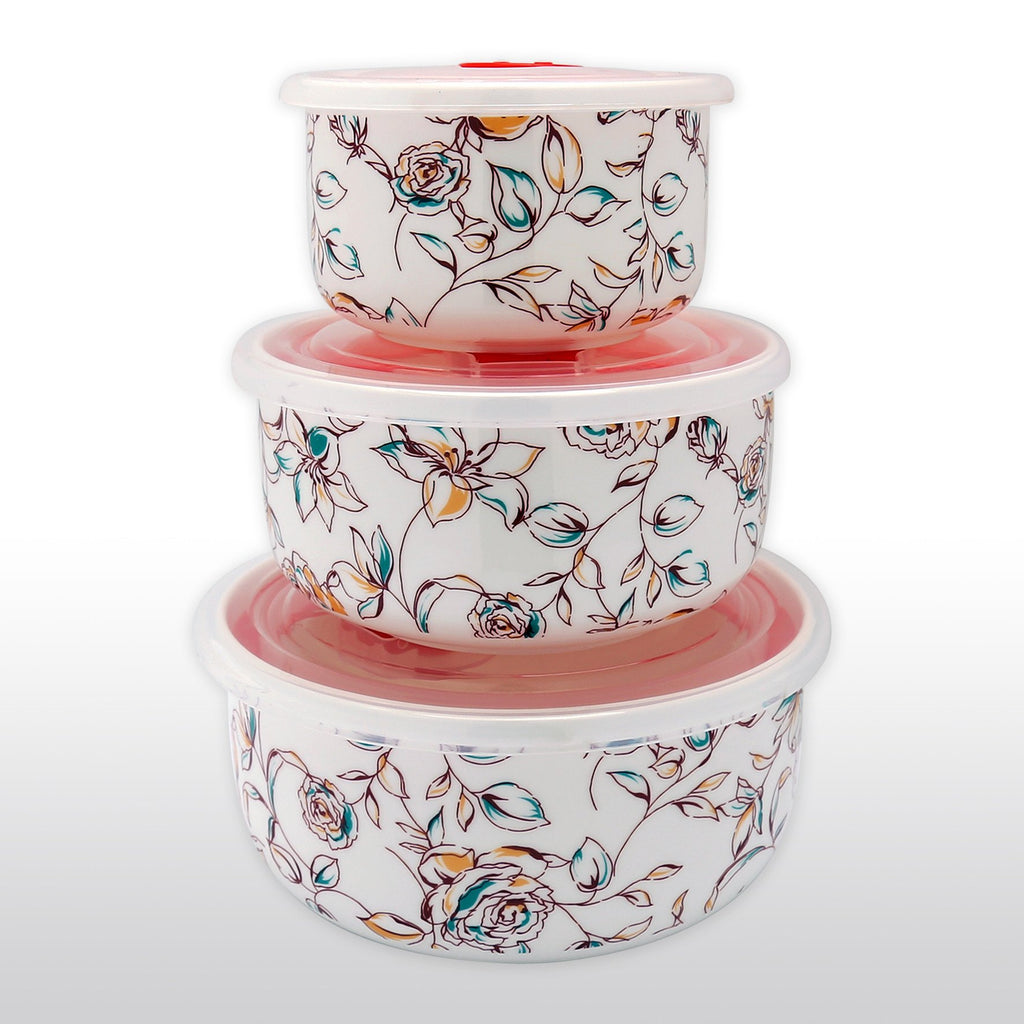 Dinnerwares - Fine Bone China Microwave Bowls With Silicone Lid Elegant Floral Motif Set Of 3
