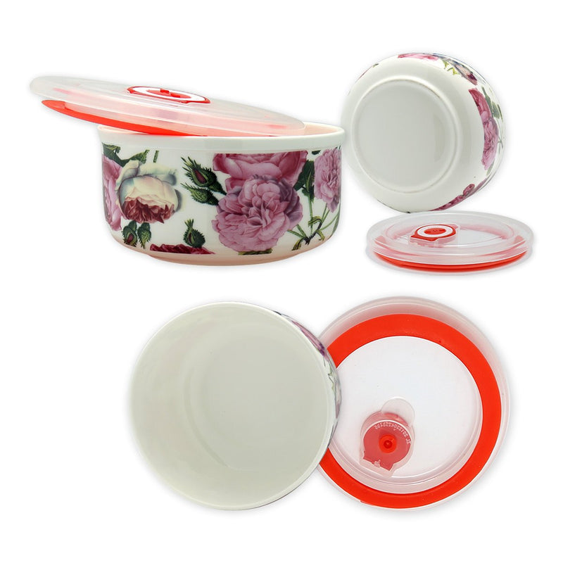Dinnerwares - Fine Bone China Microwave Bowls With Silicone Lid Pink Floral Motif Set Of 3