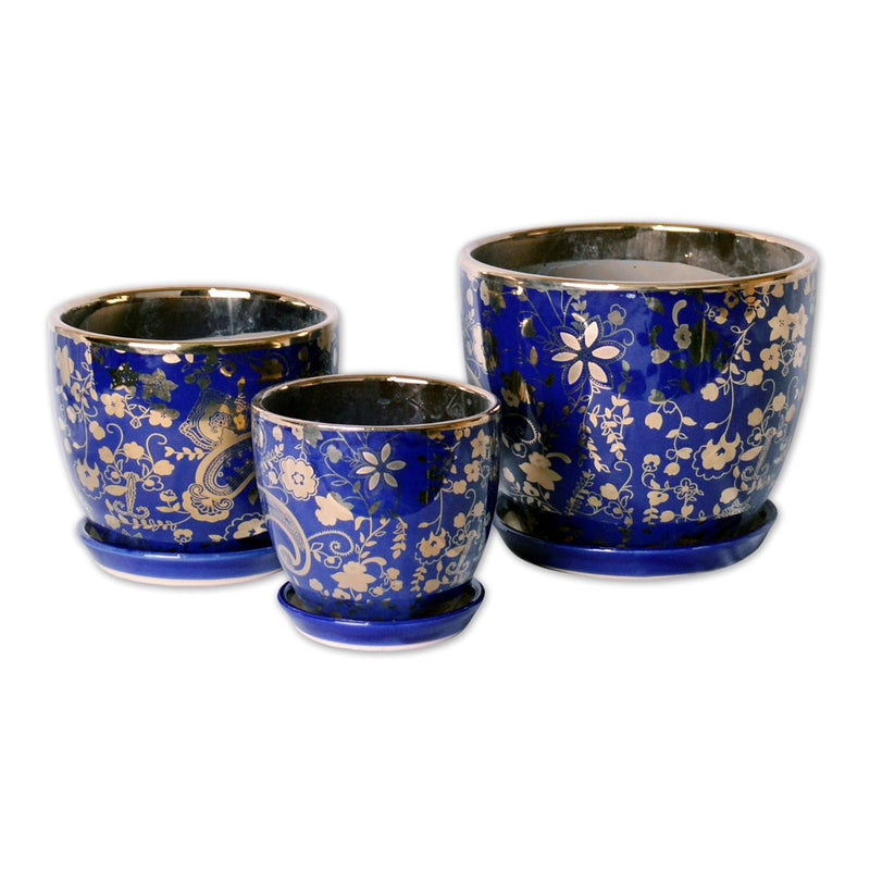 Featured Products, Ceramic Planters - A Trio Of Ceramic Planter With Tray Gold Plated In Sapphire Blue