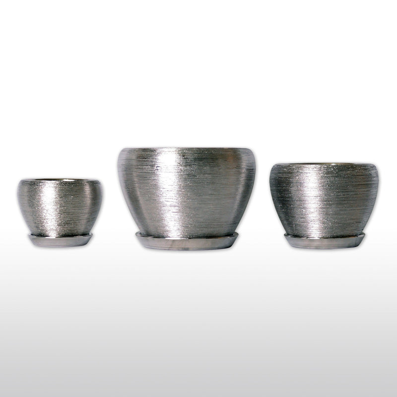 Featured Products, Ceramic Planters - Ceramic Planters With Bottom Trays In Silver Set Of 3