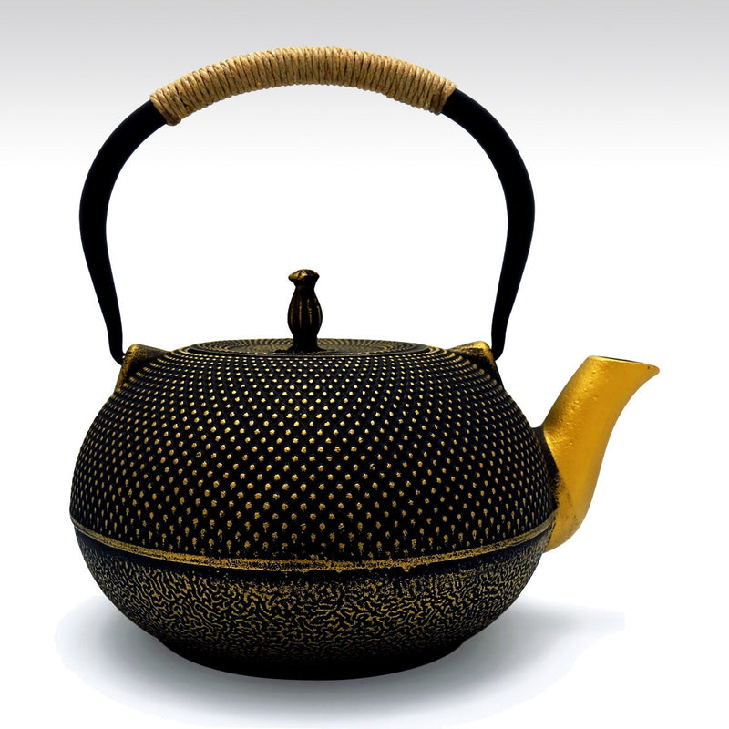 Featured Products, Coffee & Tea Wares - 70 Ounce Large Cast Iron Teapot In Black And Gold
