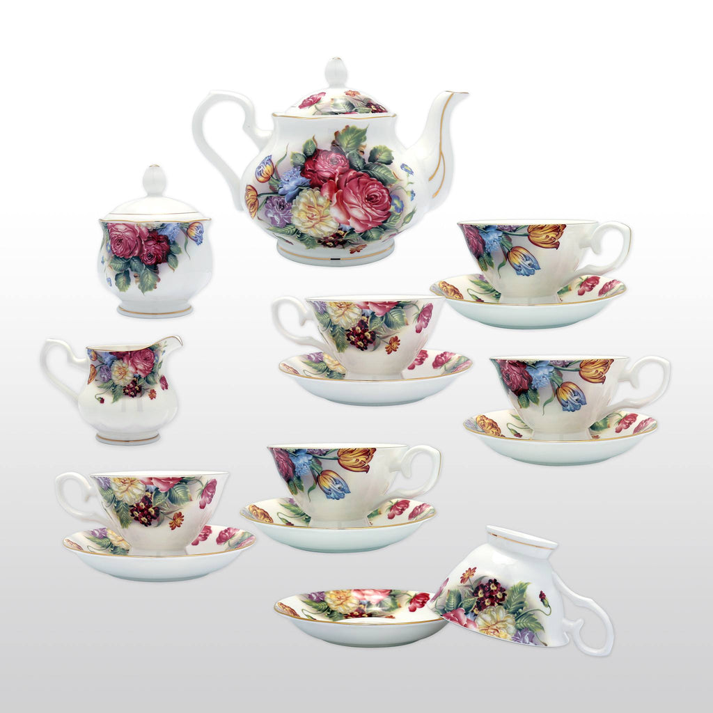 Featured Products, Coffee & Tea Wares - Fine Bone China 15 Piece Coffee Set Vivid Blossom Motif