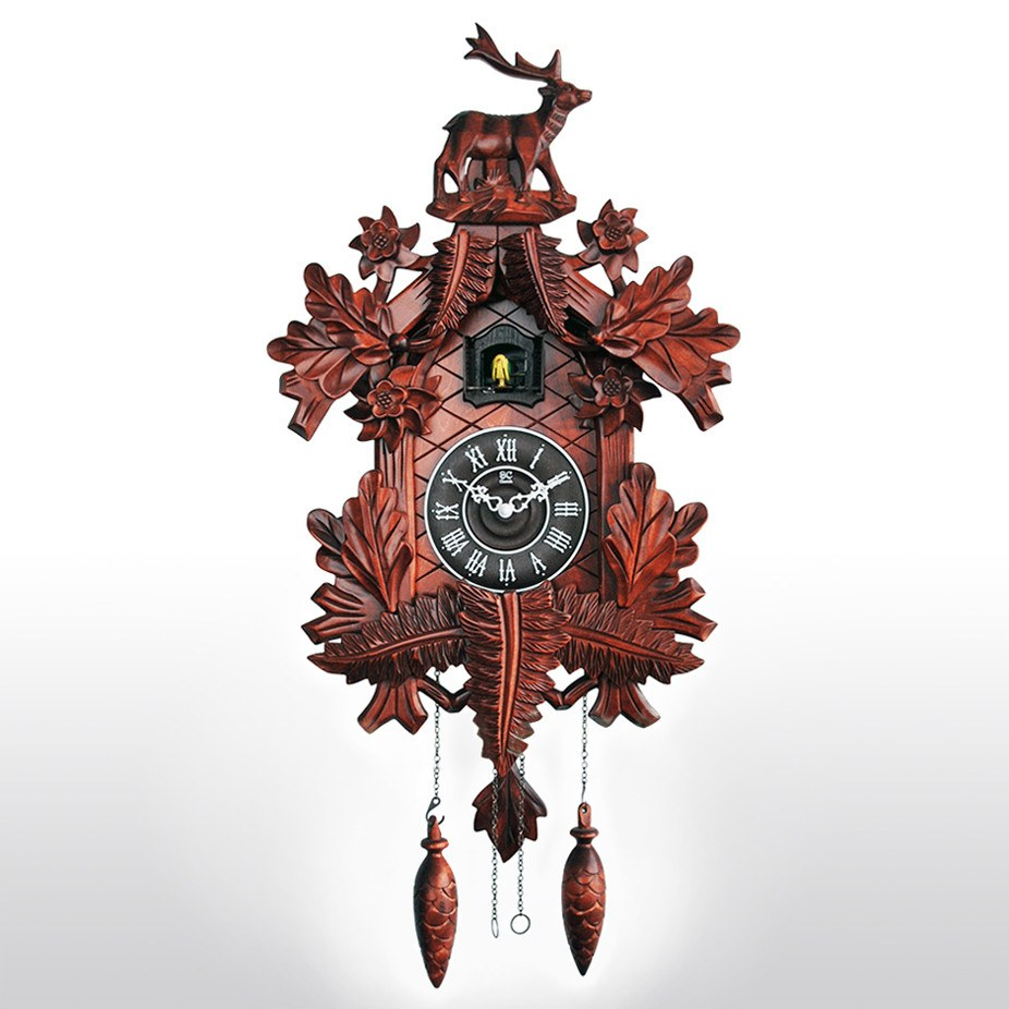 Large Cuckoo Clock With Wood Carving Birds Chirping On Hour 31