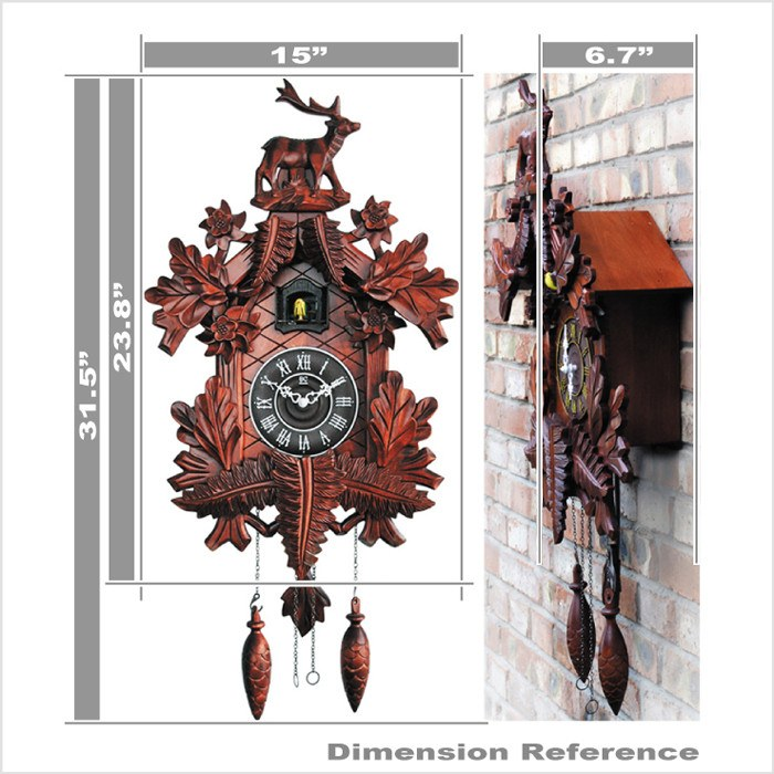 "Featured Products, Cuckoo Clocks - 31"" Large Handcarved Wooden Cuckoo Clock With Bird Chiming The Hour"