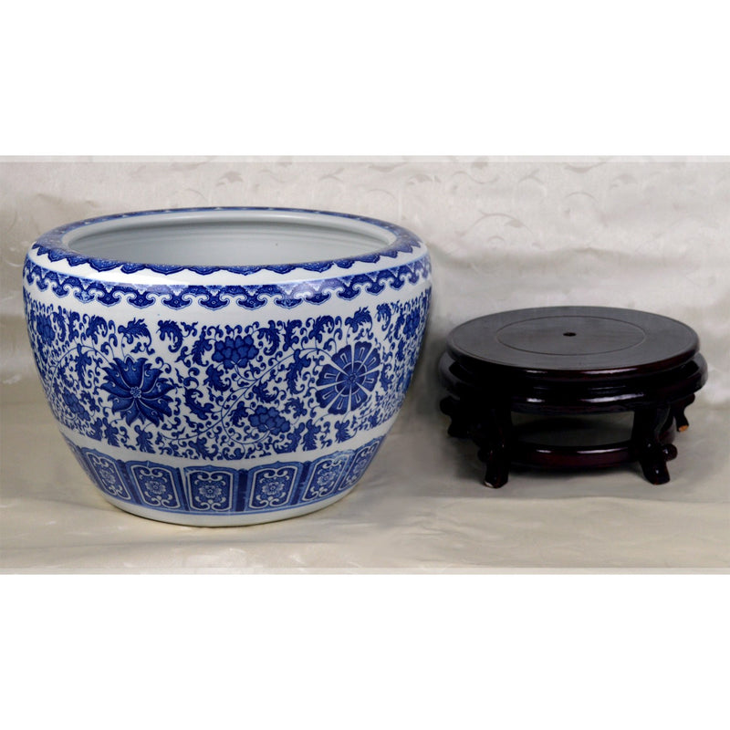 "Featured Products, Fish Bowls - 16"" Diameter Blue And White Porcelain Fish Bowl With Wooden Stand In Floral And Decorative Motif"