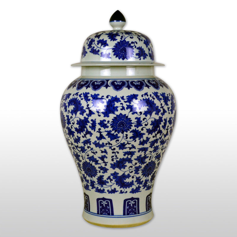 "Featured Products, Vases & Jars - 21"" Chinese Blue And White Porcelain Floor Jar Reproduct Of Ming Dynasty Model"