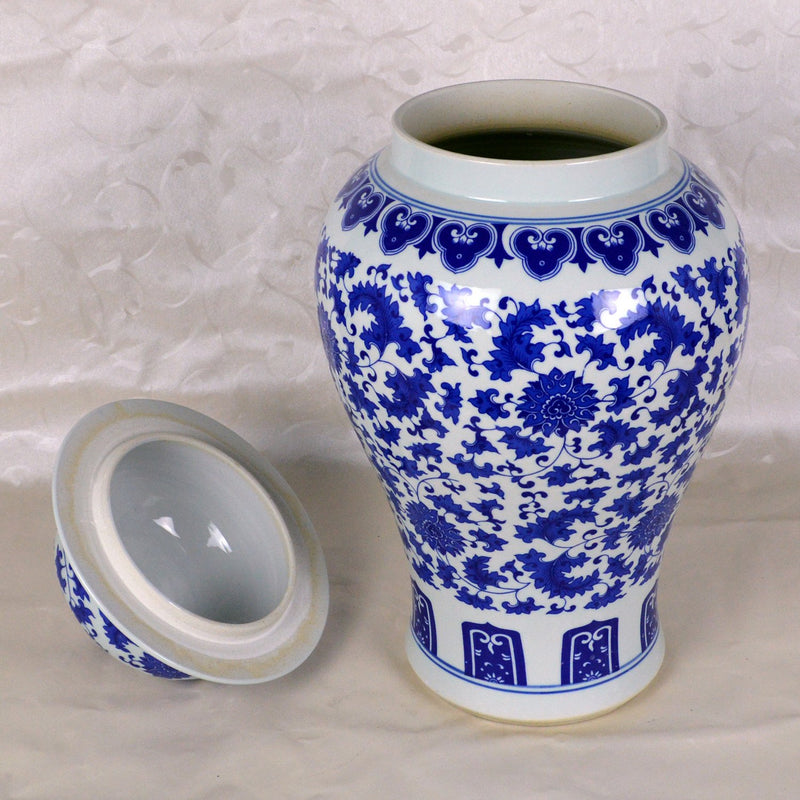 Oriental Chinese Porcelain Floor Jar 21 Quot In Floral Blue