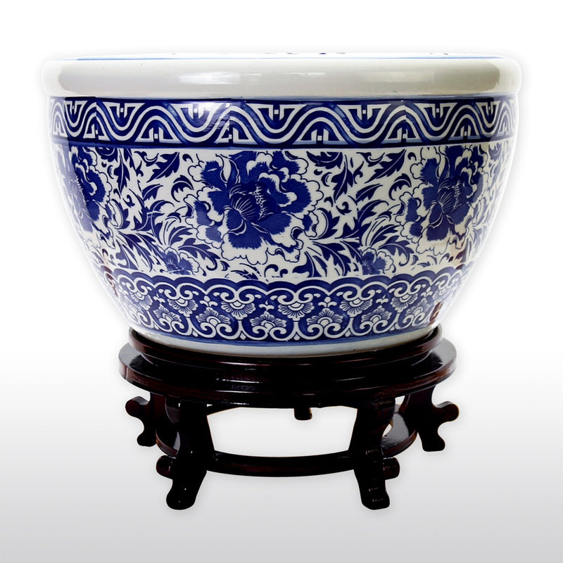 "Fish Bowls - 16"" Diameter Oriental Style Blue And White Porcelain Fish Bowl With Wooden Stand In Floral And Decorative Motif"