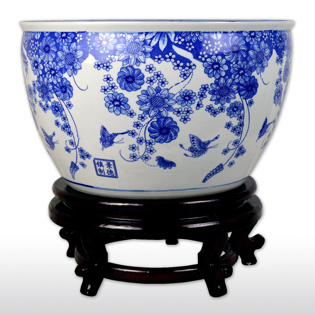 "Fish Bowls - 16"" Porcelain Fish Bowl With Wooden Stand With Blue Flower And Butterfly Design In White"