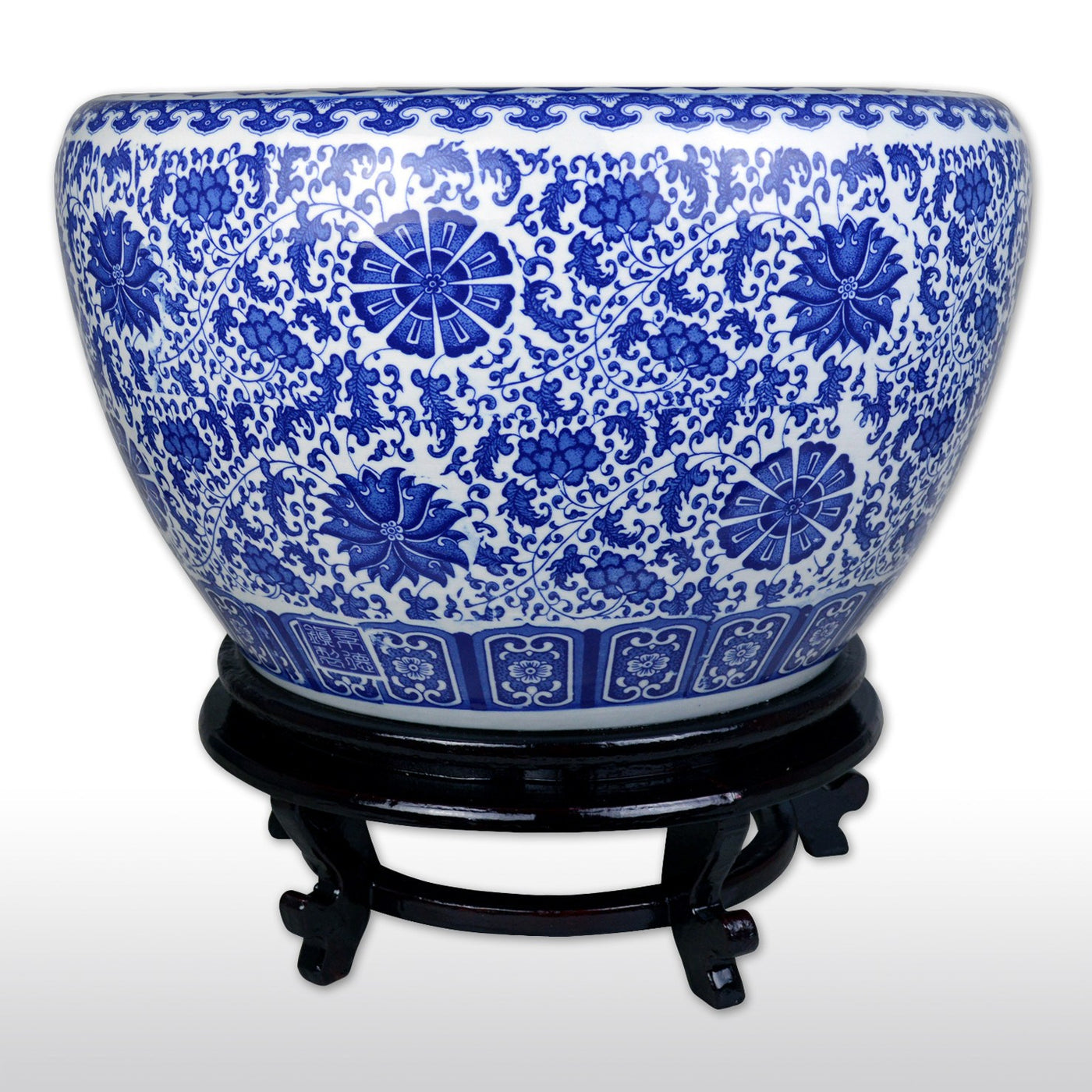 Oriental Porcelain Fishbowl 21 In Floral Blue And White Fish Bowl