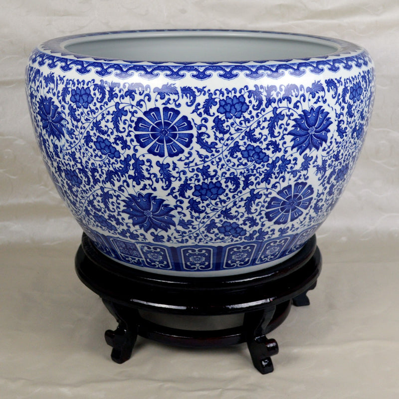 "Fish Bowls - Large Porcelain Fish Bowl With Wooden Stand With Floral Design And Decorative Patterns 21"" Diameter"